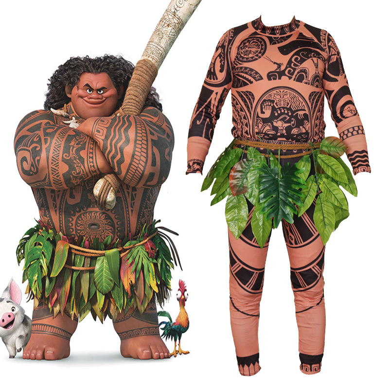 Full Sets Movie Moana Maui Cosplay Costume Adult Kids Halloween Carnival Party Costume Tights Sweatshirt + Pants + Leaves Belt