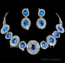 Элегантный блестящий Классический синий Овал Хрустальные невесты горный хрусталь ожерелье серьги устанавливает Свадебный горный хрусталь наборы оптовая