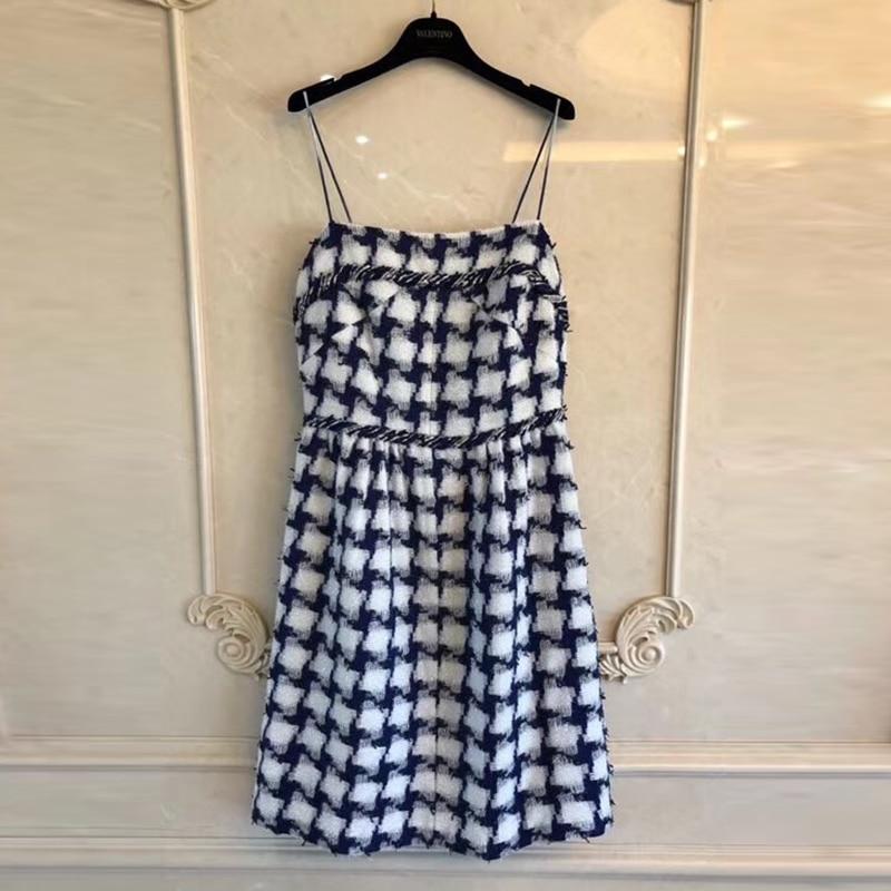 2018 Fashion Plaid Printing Tweed Dress Summer Casual Spaghetti Strap Dresses For Women High Quality