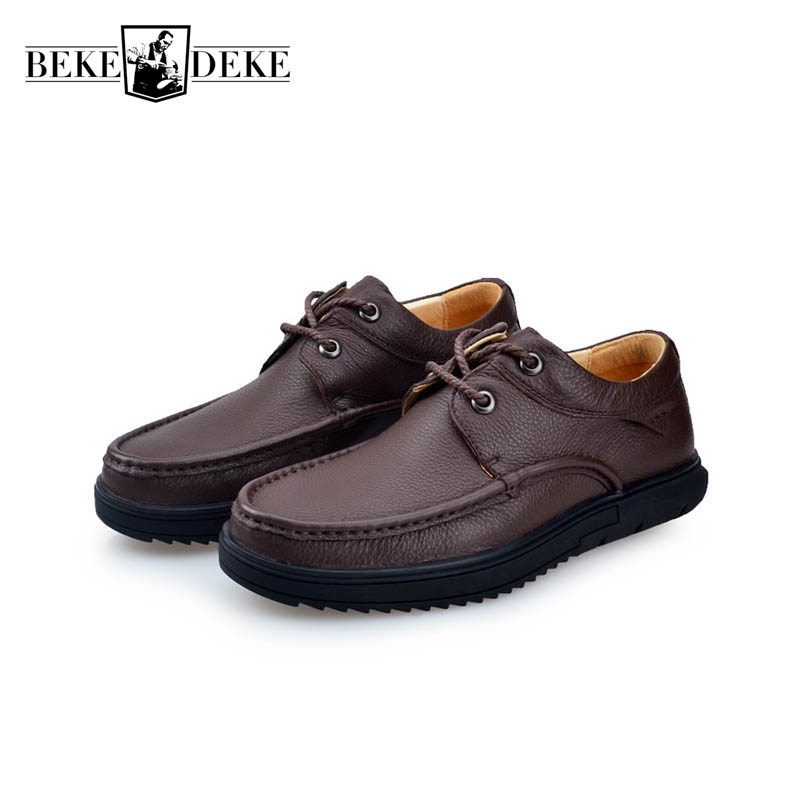 Winter Comfortable Round Toe Mens Genuine Leather Cow Casual Shoes Male Footwear Thick Bottom Hot Sale Lace Up Large Size 38-44 hot sale winter warm fur inside luxury men boots comfortable round toe brand man casual shoes genuine leather ankle boots 38 44