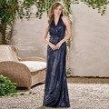 Derramar Mariage Robe de Demoiselles d Honneur Azul Marinho Lantejoulas 2017 Vestido De Convidados Do Casamento Da Dama de Honra Vestidos Longo Sereia Halter