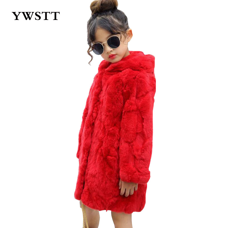 2017 Children Real Rabbit Fur Coat Autumn Winter Warm Girls Natural Fur Clothing Long Hat Babys Thick Long Solid Coat waist belted solid long coat