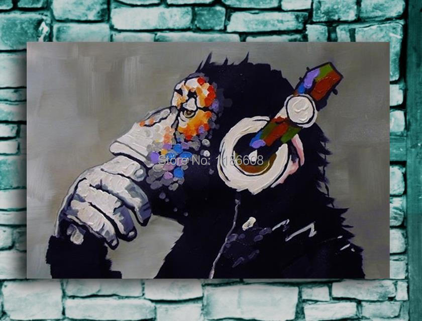 Top Quality Handpainted Gorilla Modern Abstract Music Oil