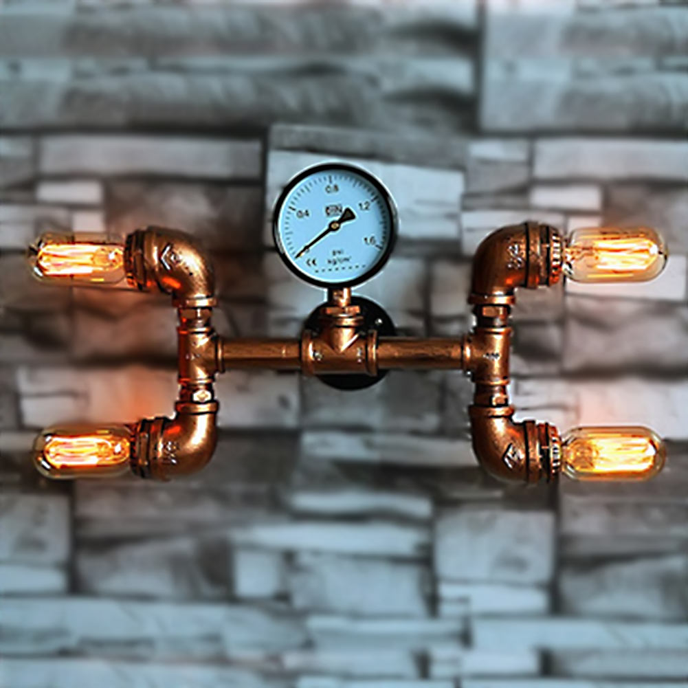 American Retro Loft Style Industrial Water Pipe Wall Light Personality Originality Aisle Restaurant Bar Iron Wall Lamp E26/E27 1 heads american industrial vintage loft style creative personality iron water pipe restaurant retro wall lamp free shipping