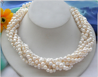 Women Jewelry 6x7mm pearl 5 rows necklace white pearl baroque flat pearl handmade real natural freshwater pearl gift