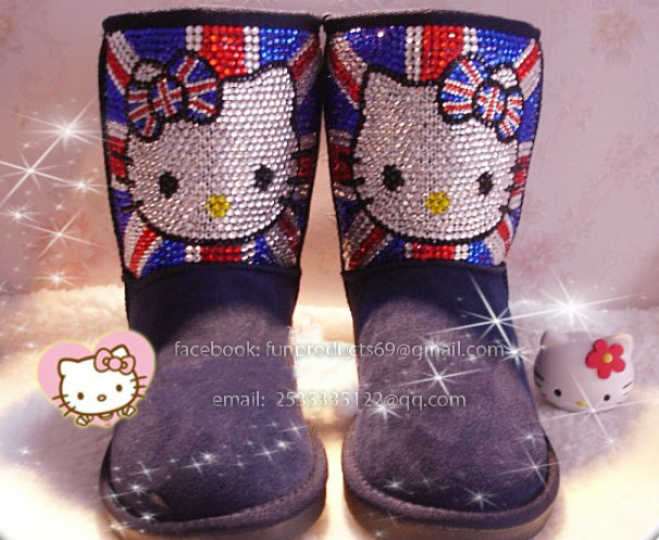 bf5a6adec P&B boutique Hello kitty boots crystal diamond snow boots can be  custom-made, pink black.,also can make for kid