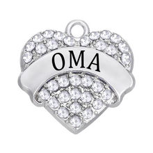 20 pieces/lot Metal Alloy Silver Tone Rhinestone Crystal OMA Hearts Charms Diy Jewelry Making Accessories Wholesale(China)