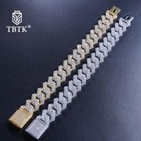 TBTK 17mm Width Cuban Chain Link Bracelet Gold/Silver Metal With Bling Crystal Zircon Stones Geometric Jewelry for Men's Wrist