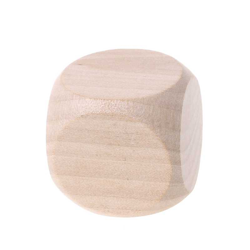 40mm 6 Sided Blank Wood Dice Write Painting DIY Family Game for Kid Toys