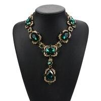 Женское массивное ожерелье, роскошное ожерелье с большими камнями и геометрическим квадратным стеклом, ювелирные изделия, 2019