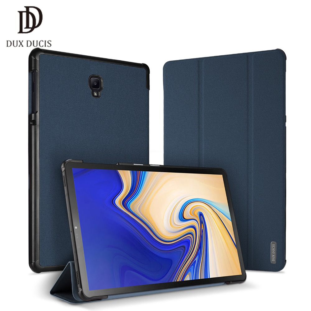 DUX DUCIS Leather Case for Samsung Galaxy TAB S4 Smart Protective PU Flip Cover for Samsung TAB S4 10.5 inch T830 T835 2018 New protective aluminum alloy abs back case for samsung galaxy s4 i9500 black