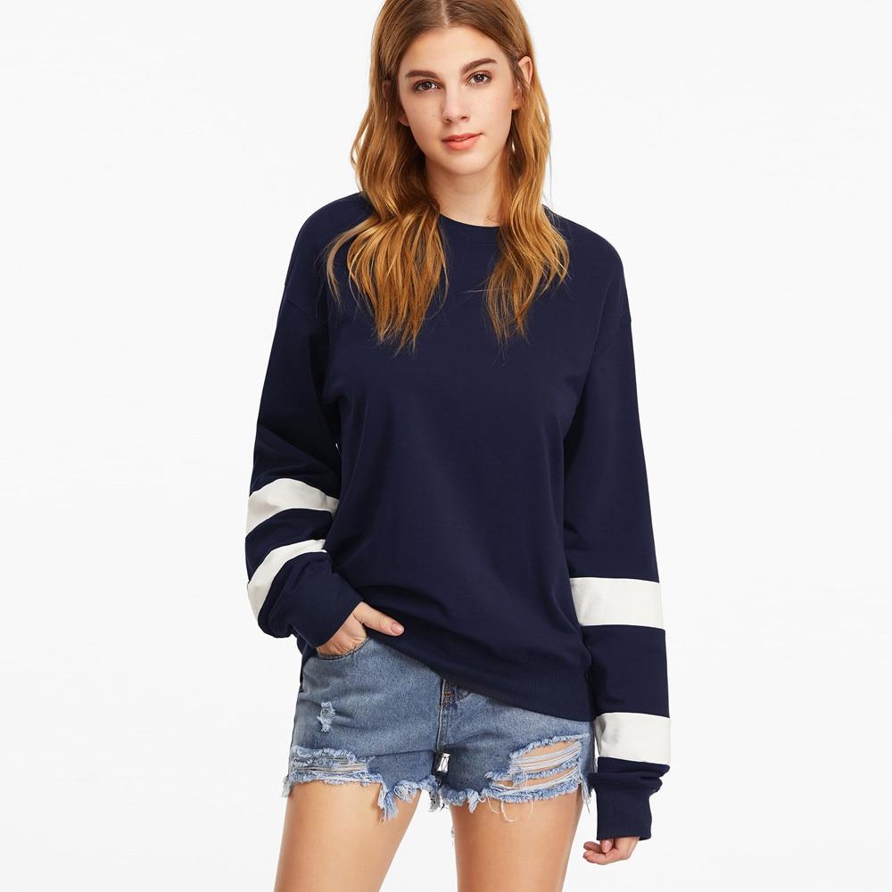 US 2017 New Autumn Design Fashion Womens Long Sleeve O Neck Sweatshirt Female Sweat Striped Slim Pullover Causal Tops Blouse