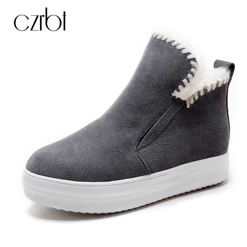 все цены на CZRBT Fashion Women Snow Boots Cow Suede Women Shoes Winter Warm Wool Snow Boots High Quality Handmade Women Ankle Boots 34-43