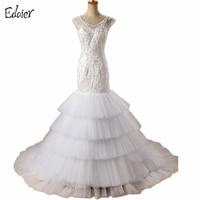 Wedding Dresses Long 2017 Mermaid V Neck Open Back Beaded Embroidery Tiered Floor Length Robe De