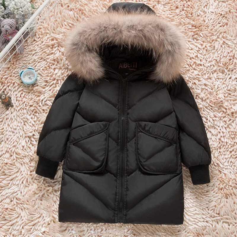 c6c048533 Kids Winter Coat Real Raccoon Fur Boys Down Jackets Thick Warm Long ...