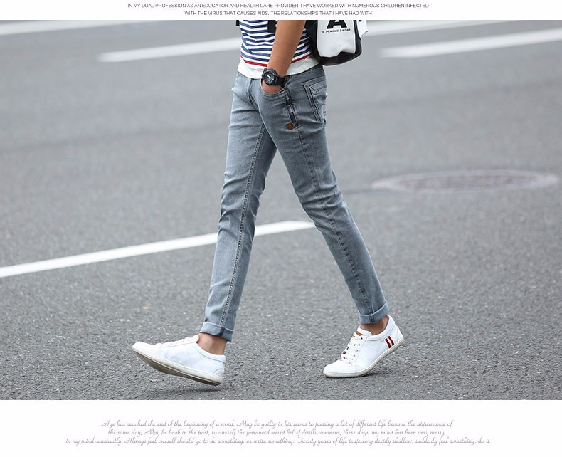 New Korean Style Men Jeans Grey Slim Skinny Man Biker Jeans with Zippers Designer Stretch Fashion