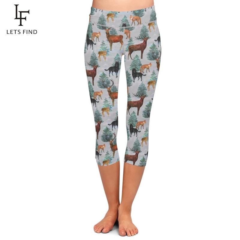 LETSFIND Summer New Design Women Capri Leggings High Waist 3D Milu Deer&fox&dog Print Mid-Calf 3/4 Trousers Movement Leggings