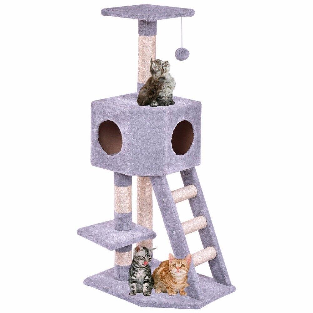 Goplus Huisdier Kat Boom Speelhuis Toren Condo Bed Scratch Post Kitten Huisdier Huis Toren Hout Kat Klimrek PS7001