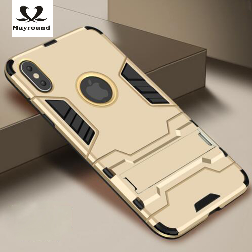 MAYROUND For Apple iPhone 10 ten X case Shell Duty Armor Dirty Resistance Flexbility Case PC Kickstand Multifunction Cover case