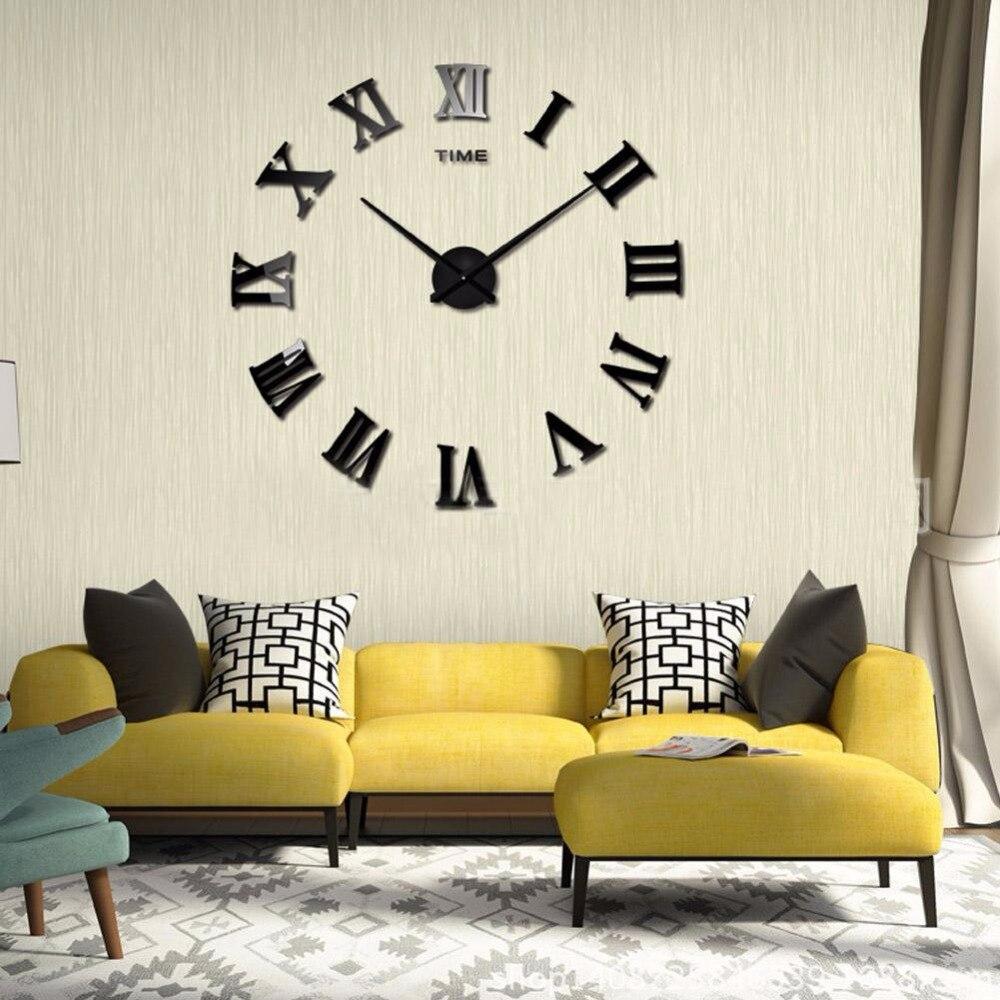 3d diy intérieur décoration de la maison miroir autocollants eva suspendus noir horloge murale miroir art