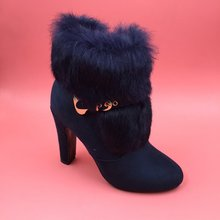 Blue Ankle Boots For Women Shoes Woman Winter Boots Real Image Fringe Boots Pointed Toe Short Fur Short Ladies Boots Plus Size