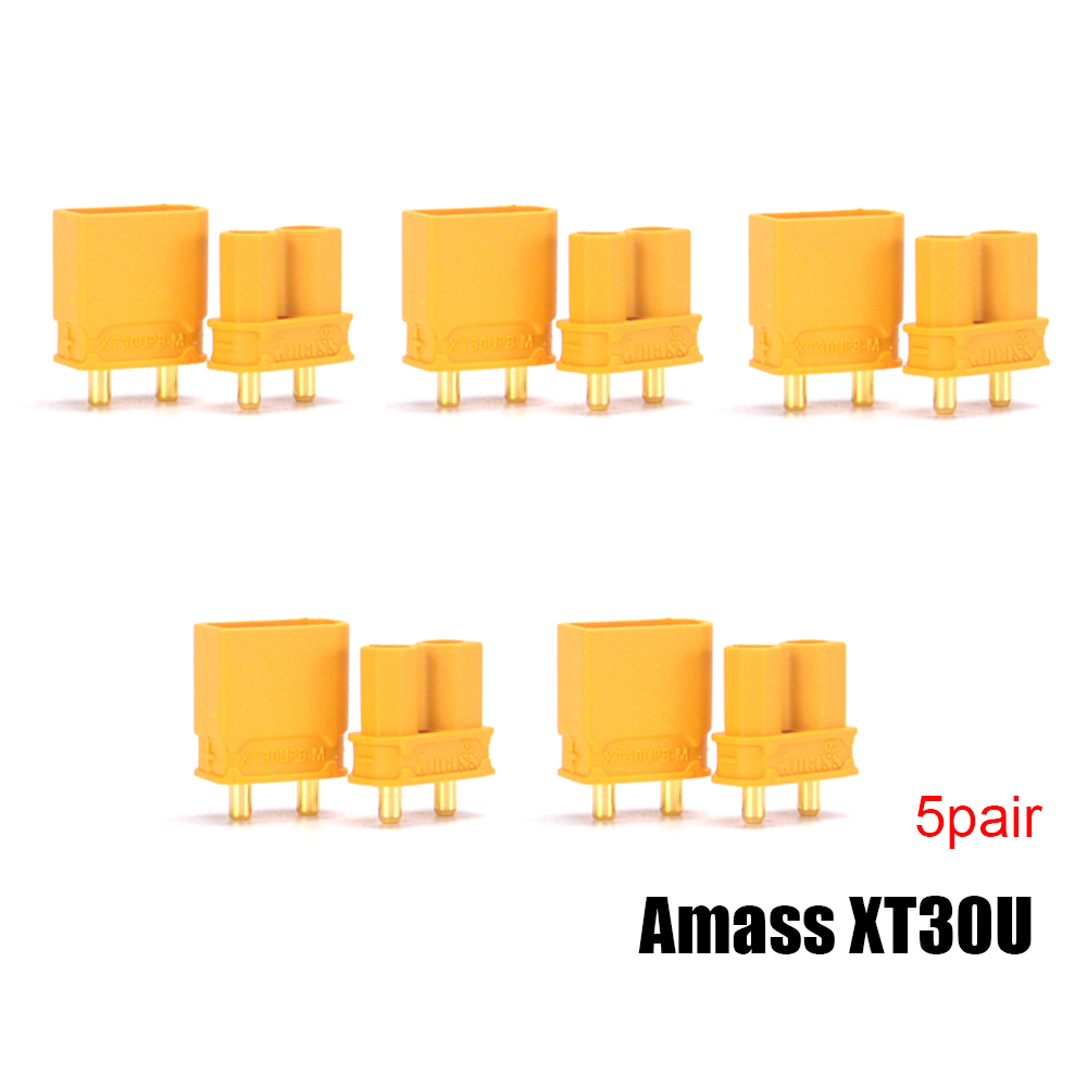 5pair/lot Amass XT30U Male Female Bullet Connector Plug Upgrade XT30 For RC FPV Lipo Battery FPV Quadcopter 5 pair lot male female butted interface line connector of lithium battery aviation model docking lead diy toys parts