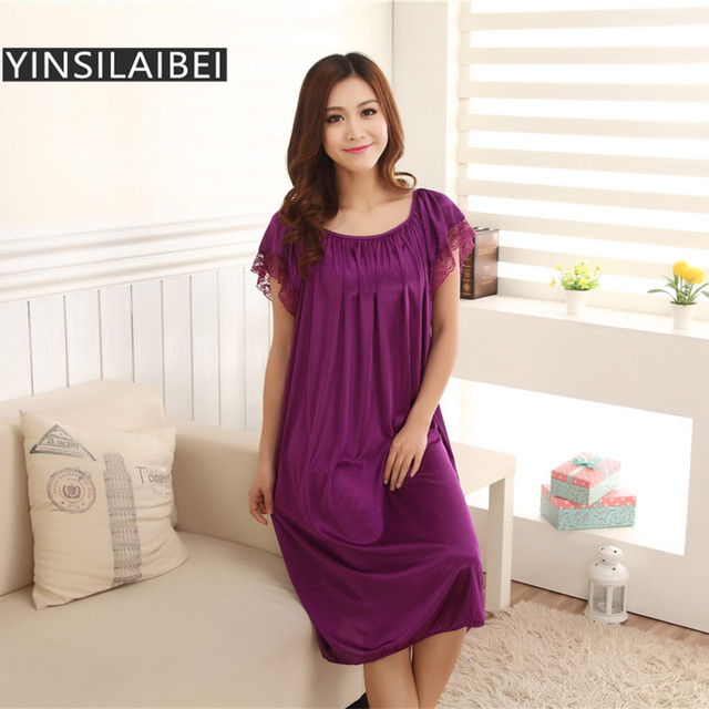 Spring Summer Ice Silk Satin Nightgowns Women Nightwear Sexy Night Dress  Long Lace Nightgown Plus Size 23286e27d8b0
