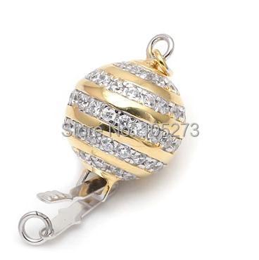 Avec fermoir boule en zirconium, collier 12mm 925 argent bricolage en cristal de perle naturelle de haute qualité, fermoir bracelet. -L59C - 4