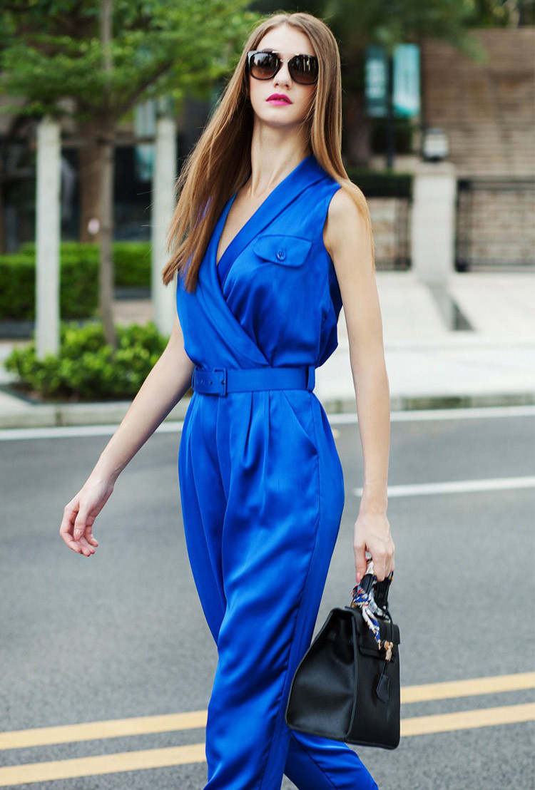 2ac1117de5a women plus size rompers 2015 v neck flap pockets wrap jumpsuits green / royal  blue satin ladies rompers macacao feminino longo o on Aliexpress.com    Alibaba ...