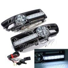LED DRL Running Light + Fog Lamp + Front Bumper Grille For VW Jetta Bora Mk4 1999-2004