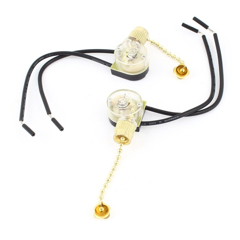 2xCA 3A 250 V 6 A 125 V Ceiling Fan Cable Chain Gold Tone Switch in Switches from Lights Lighting