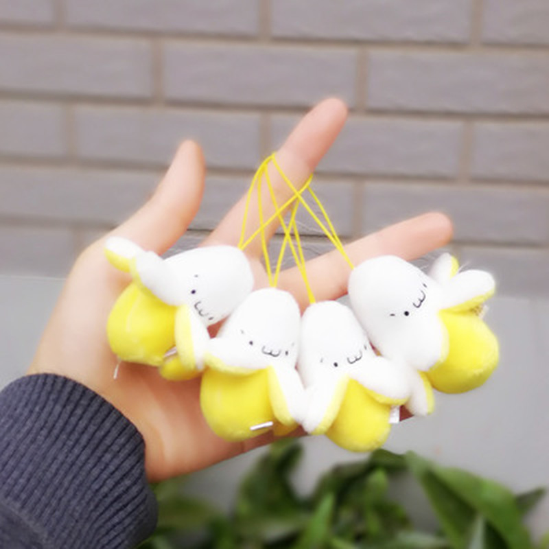 1X Super CUTE Mini 6CM Plush Stuffed Banana Toy Doll - Bouquet Plush Toy , Lover's Gift String Plush Pendant Doll Toy