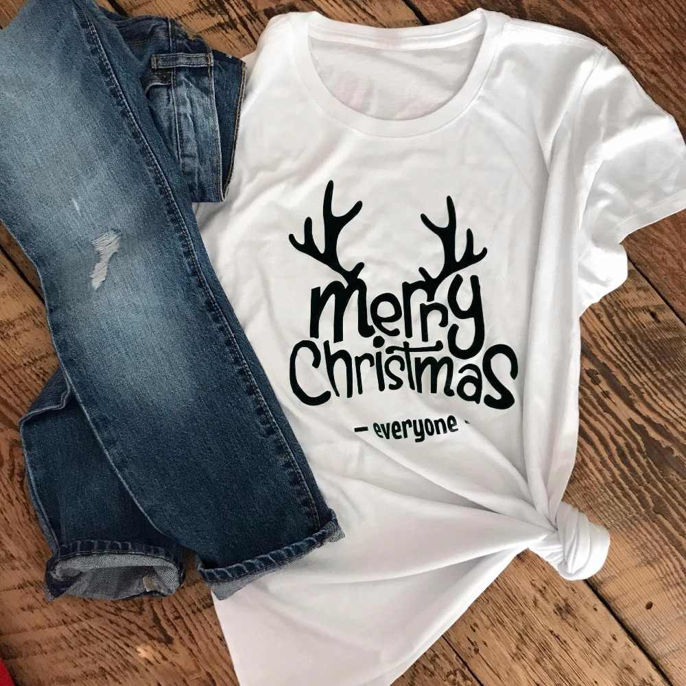 Women Unisex Tees Cotton Pastel Aesthetic Tumblr Party Tops Gift Shirt Merry Christmas Everyone T-shirt Funny Reindeer Graphic