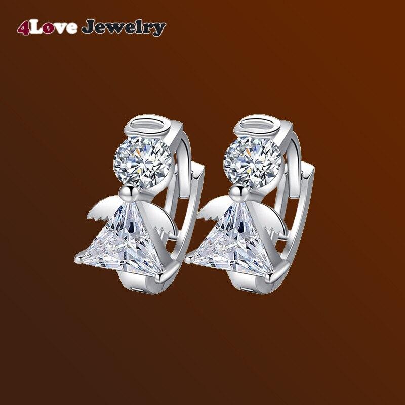 Angle Ear Stud Earrings With CZ Women Luxury Crystal Silver Jewelry Earring News 2016 fashion For Girls DM16