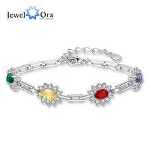 купить Customized Birthstone Bracelets & Bangles for Women Sparkling Cubic Zirconia Flower Personalized Jewelry (JewelOra BA102477) по цене 650.66 рублей