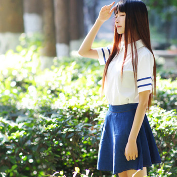 New style British Navy Navy sailor suit Japanese school uniforms JK uniforms students wear class suits school wind suit japanese school uniforms anime cos sailor suit tops bow tie skirt jk navy style students clothes for girl short sleeve