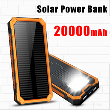 Solar Power Bank 20000mah Dual USB External polymer Battery Portable Charger LED light Outdoor Powerbank Solar Charger panel