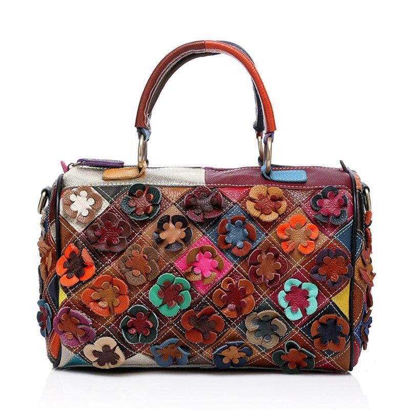 Genuine Leather Women Handbag Colorful Cow Leather Patchwork Shoulder Bag Fashion Flowers Women Messenger Bag