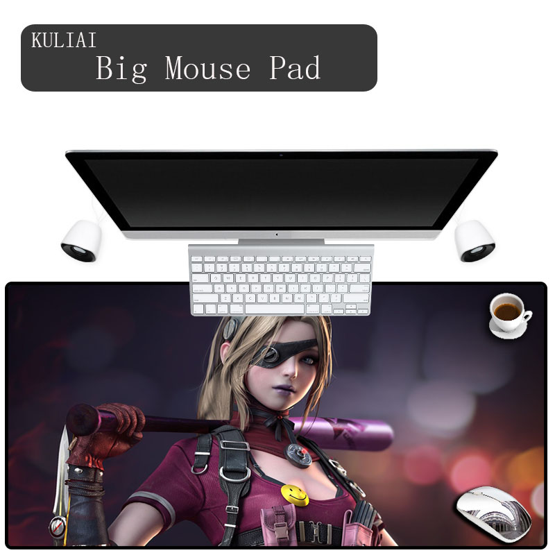 XGZ Girl Mouse Pads Large Mat Pad Mouse Gaming Gamer Pc Keyboard Desk Mats Rubber Edge Control Player Mouse Pad <font><b>900x400</b></font> MM image