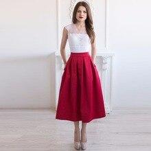 Винтажная бордовая сатиновая юбка для женщин с карманами, плиссированная юбка средней длины, Женская юбка на заказ, трапециевидная застежка-молния
