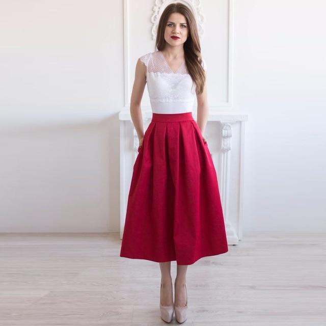 ca8fa4335 2017 Vintage Burgundy Tea Length Satin Skirts For Women With Pockets Pleat Mid  Length Skirt Female Custom Made A-line Zipper
