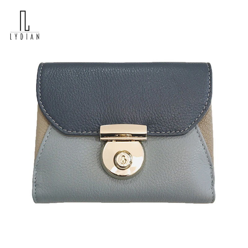 Lydian Genuine Leather Brand Wallets Hasp Short Thin Woman Purses Rivet Money Bags Lock Women Cute Envelope Wallets Card Holder hot sale leather men s wallets famous brand casual short purses male small wallets cash card holder high quality money bags 2017