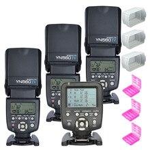 3pcs YONGNUO Flash Speedlite YN560 IV + Wireless Flash Controller YN560TX for Canon Nikon +3pcs Flash Diffuser and Battery Case