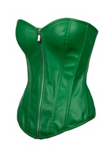 Women's Sexy Green lacquer Overbust Faux Leather Gothic Corset