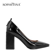 SOPHITINA Elegant Woman Pumps Handmade Black Sheepskin Thick Heel Pumps Retro Square Toe High Heel Classic Office Lady Shoes W12