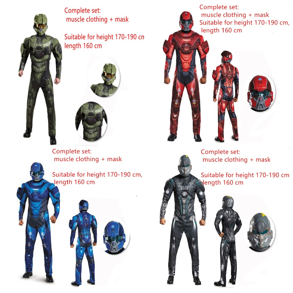 Halo 5:Guardians Cosplay Master Chief John117 Costumes 3D Printing muscle clothing Halloween Game Anime Adult man full uniform image