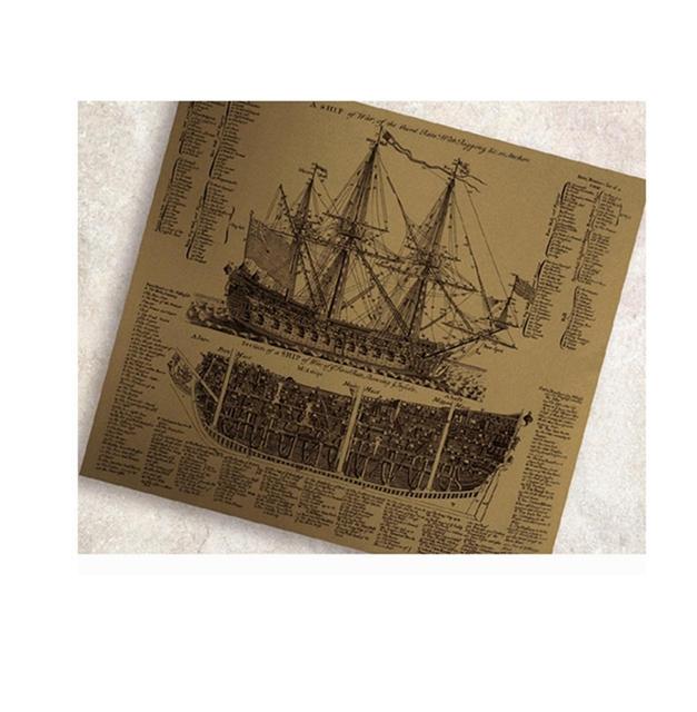 Free shipping Ancient warships drawings Classic Poster Vintage Paper ...
