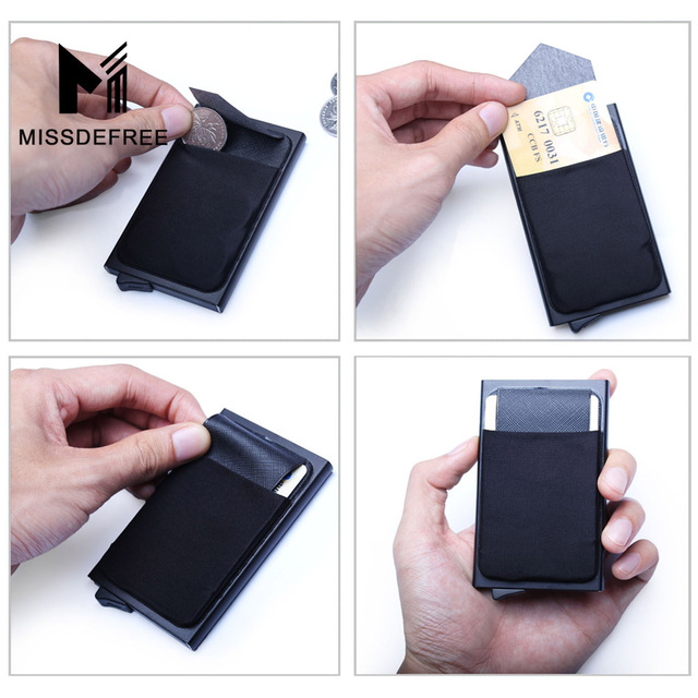 Aluminum Wallet With Back Pocket ID Card Holder RFID Blocking Mini Slim Metal Wallet Automatic Pop up Credit Card Coin Purse 5