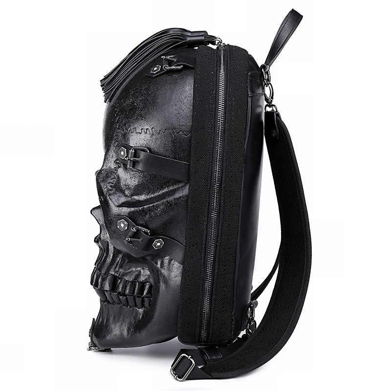 JIEROTYX personalizado Street Cool Rock hombres mochila mueca patrón cráneo patrón mochila divertido bolso de hombro Paquete de compras