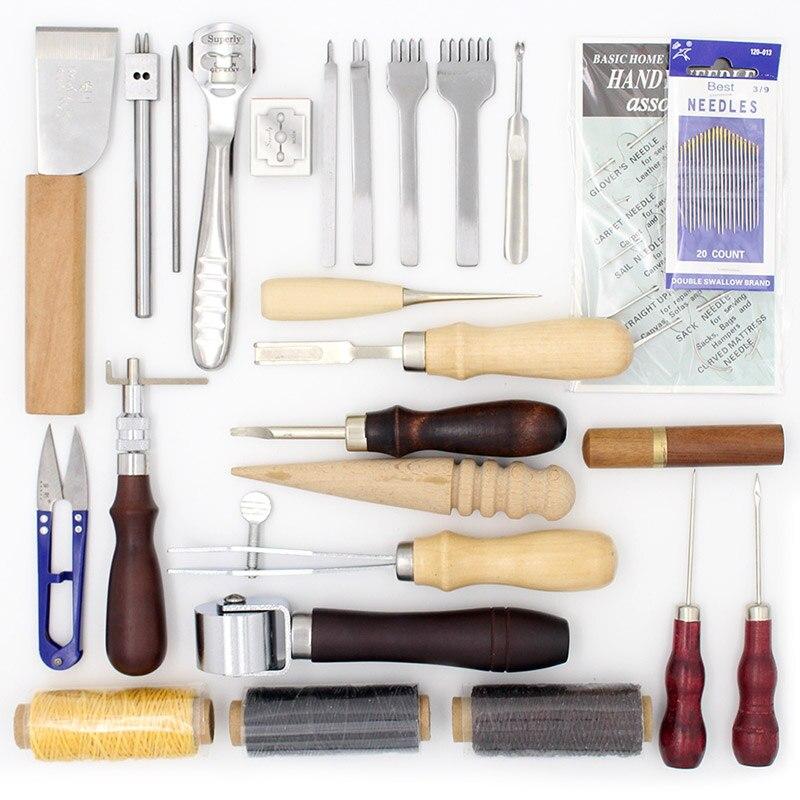 25 Pcs/Lot Outils pour Travailler avec La Peau En Cuir Artisanat D'outils À Main Set Dilution Bord Beveler Groover pour le Traitement Du Cuir Outil